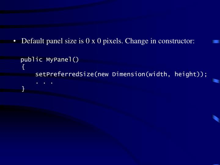 Default panel size is 0 x 0 pixels. Change in constructor: