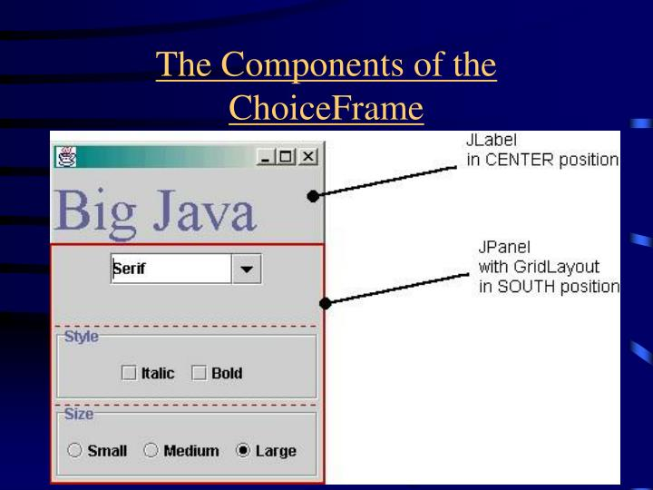 The Components of the ChoiceFrame