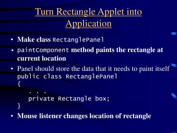 Turn Rectangle Applet into Application