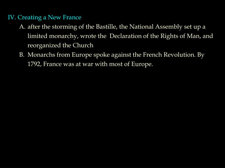 IV. Creating a New France