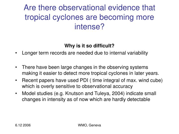 Are there observational evidence that tropical cyclones are becoming more intense?