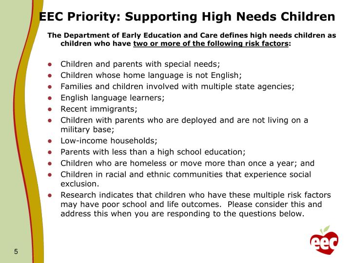 EEC Priority: Supporting High Needs Children