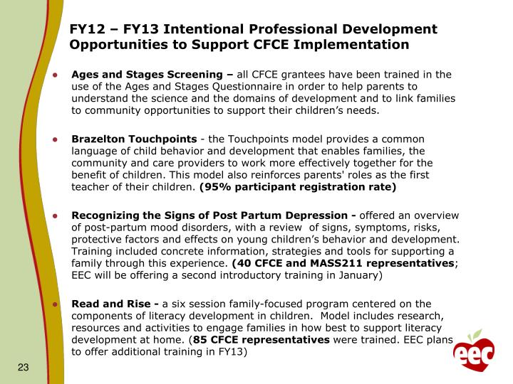 FY12 – FY13 Intentional Professional Development Opportunities to Support CFCE Implementation
