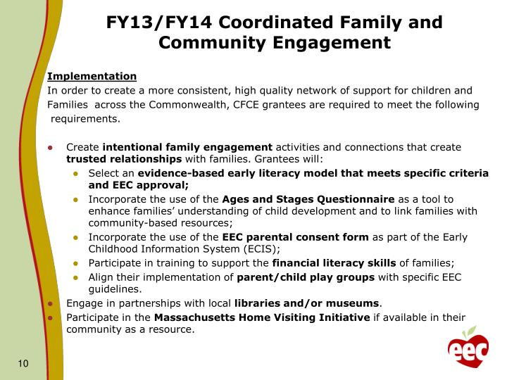 FY13/FY14 Coordinated Family and Community Engagement