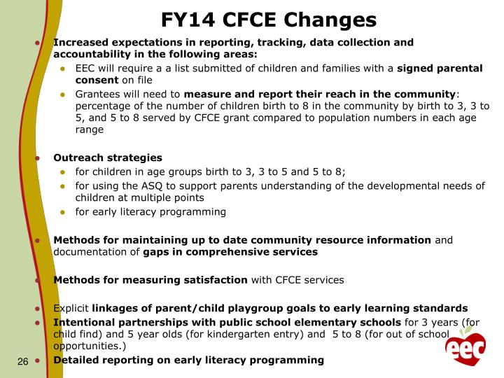 FY14 CFCE Changes