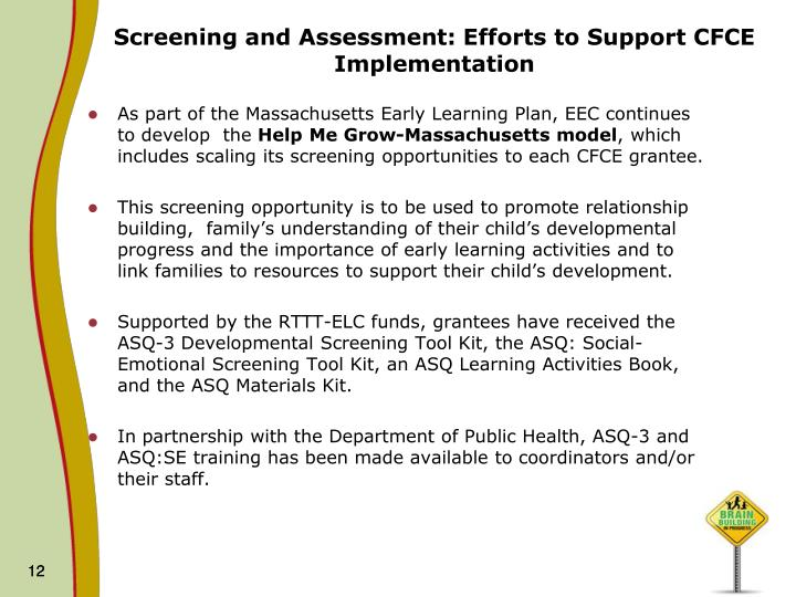 Screening and Assessment: Efforts to Support CFCE Implementation