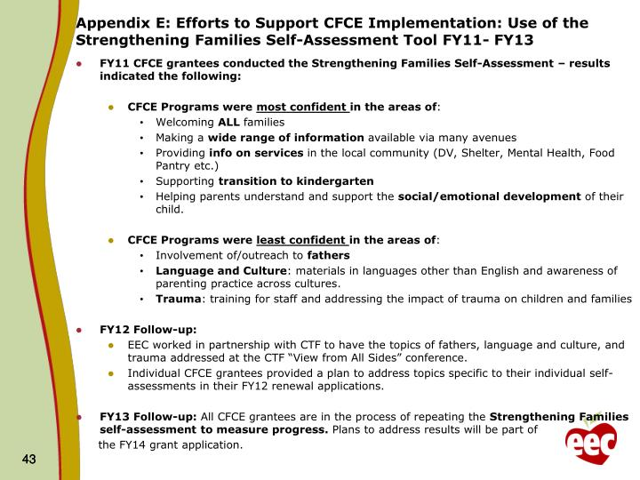 Appendix E: Efforts to Support CFCE Implementation: Use of the   Strengthening Families Self-Assessment Tool FY11- FY13