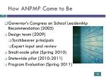 how anpmp came to be