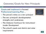 outcomes goals for new principals