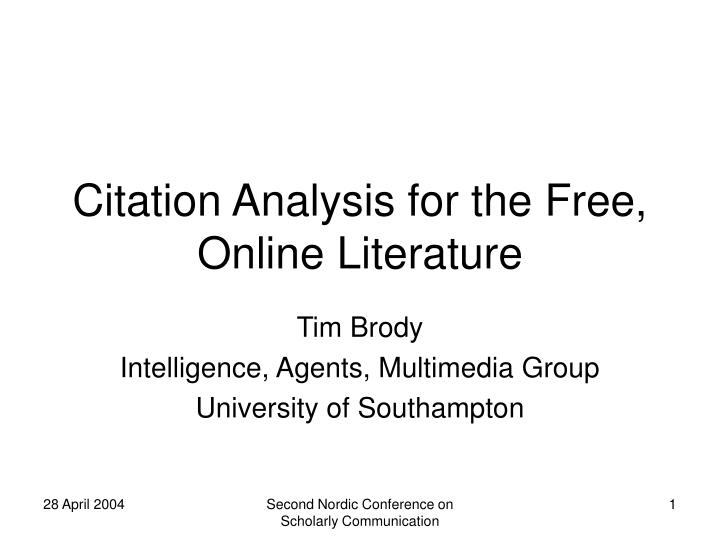 Ppt Citation Analysis For The Free Online Literature Powerpoint