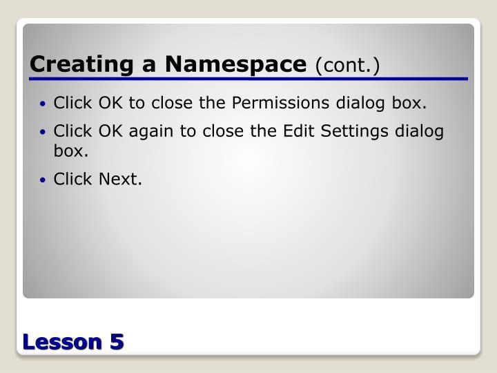 Creating a Namespace