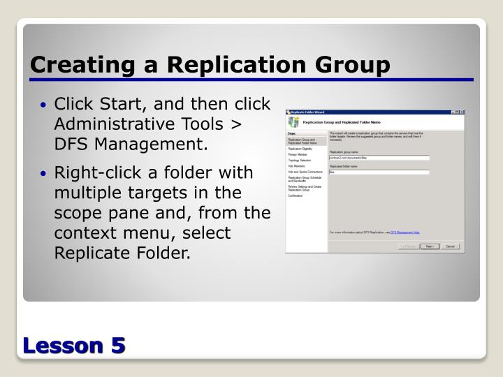 Creating a Replication Group