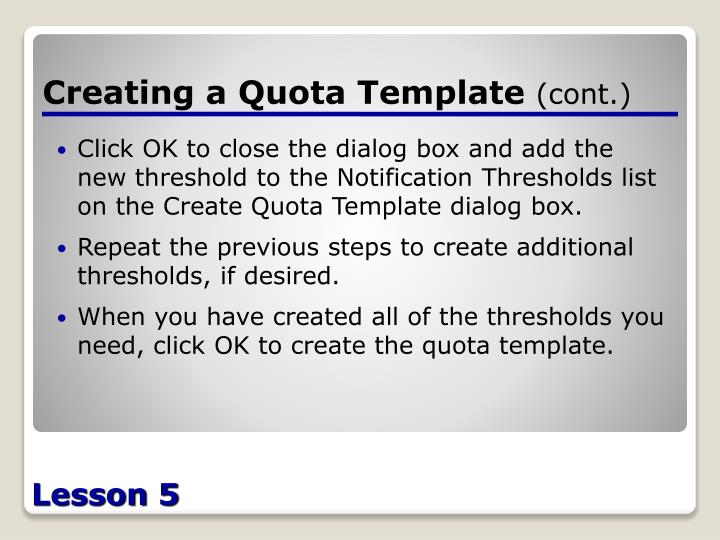Creating a Quota Template