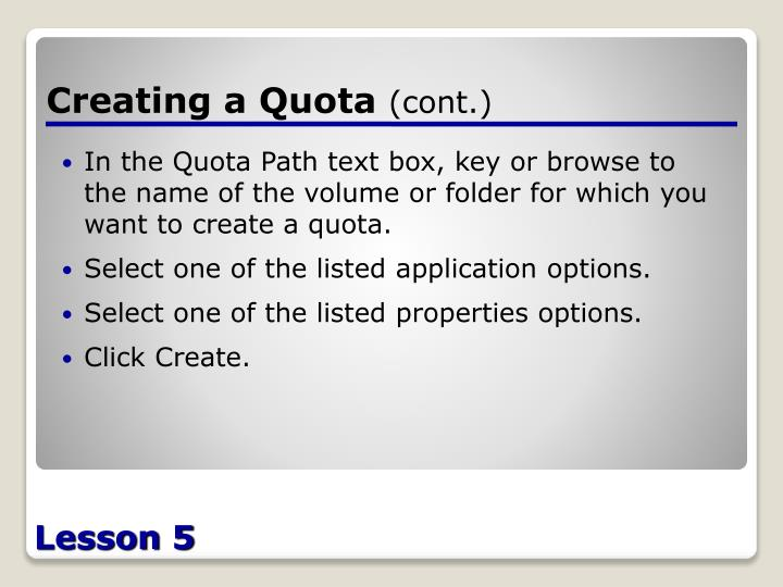 Creating a Quota