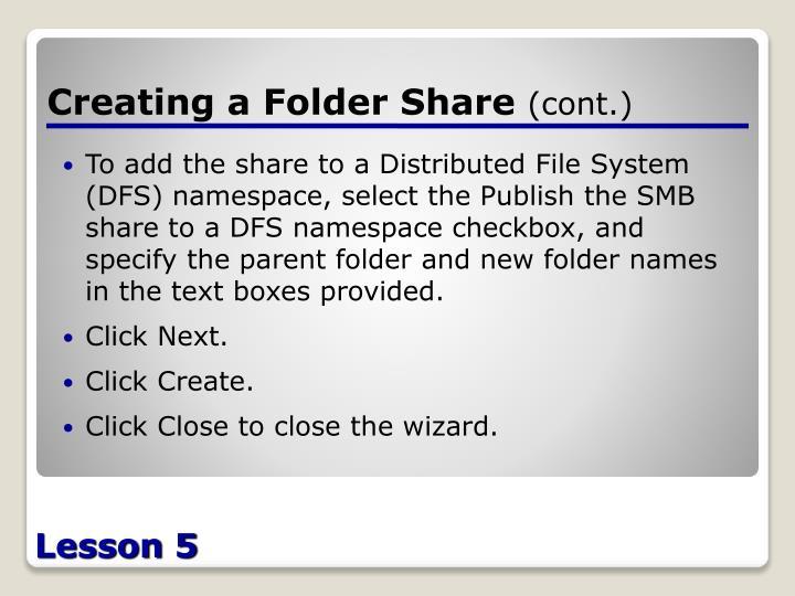 Creating a Folder Share
