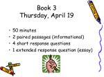 book 3 thursday april 19