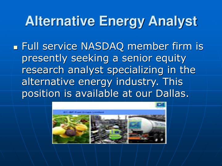 Alternative Energy Analyst