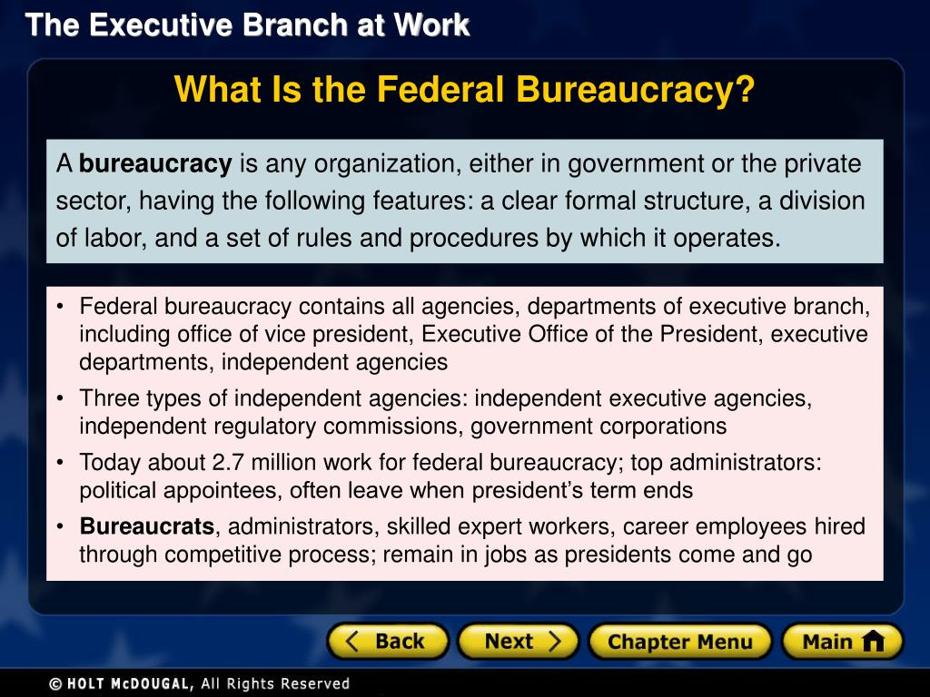 PPT - Section 1: The Federal Bureaucracy Section 2