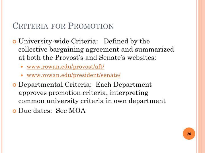 Criteria for Promotion