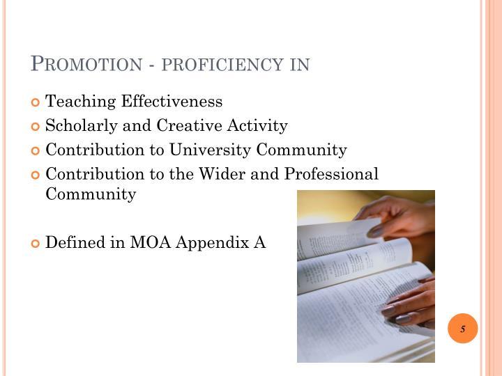 Promotion proficiency in
