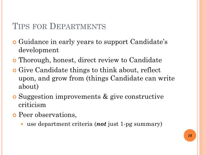Tips for Departments