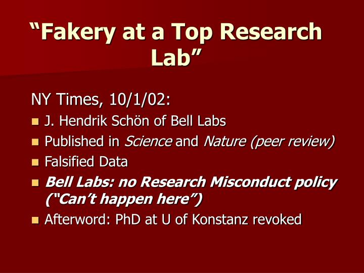 """""""Fakery at a Top Research Lab"""""""
