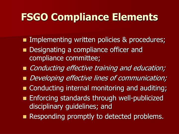 FSGO Compliance Elements