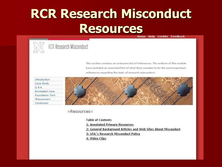 RCR Research Misconduct Resources