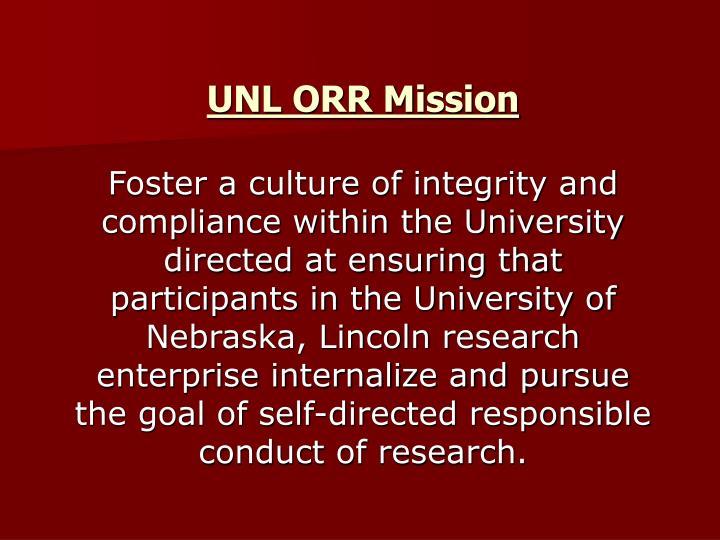 UNL ORR Mission