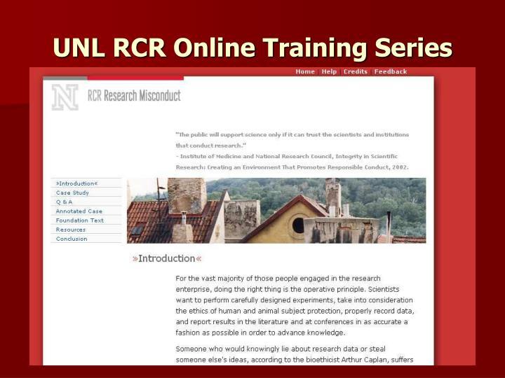 UNL RCR Online Training Series