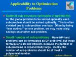 applicability to optimization problems