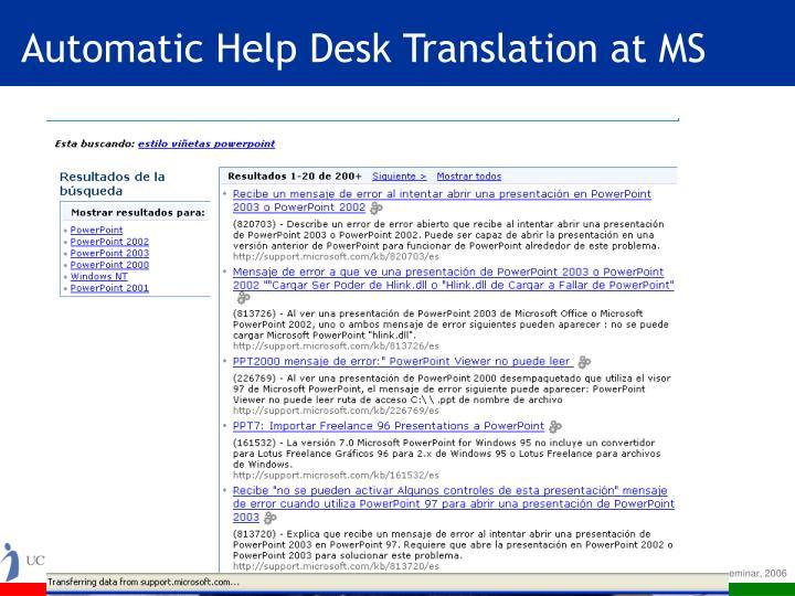 Automatic help desk translation at ms