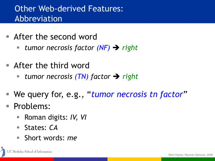 Other Web-derived Features:
