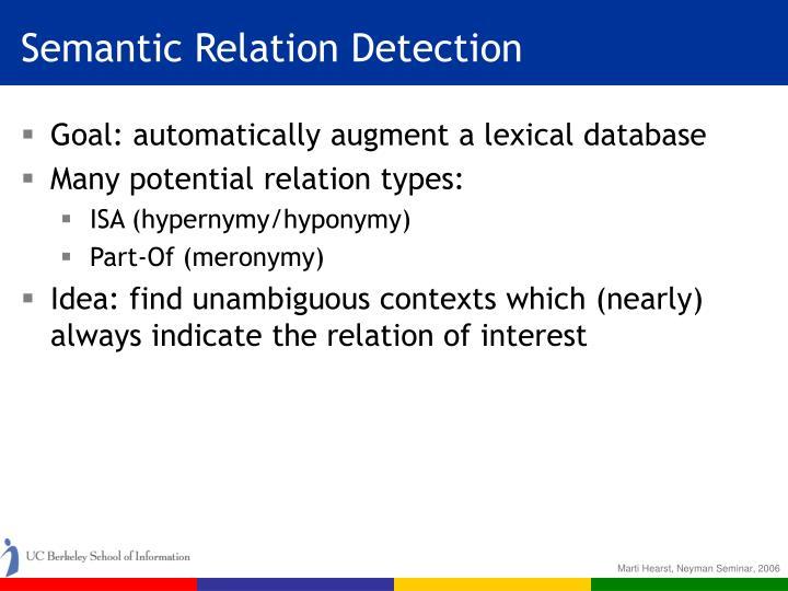 Semantic Relation Detection
