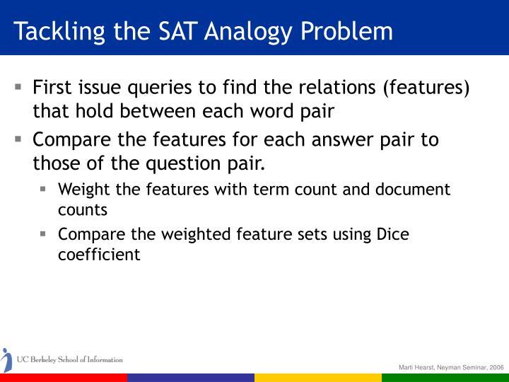 Tackling the SAT Analogy Problem