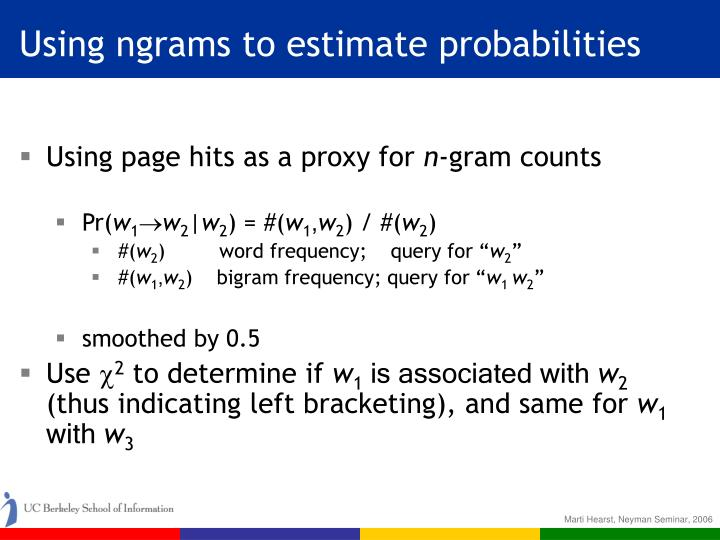 Using ngrams to estimate probabilities