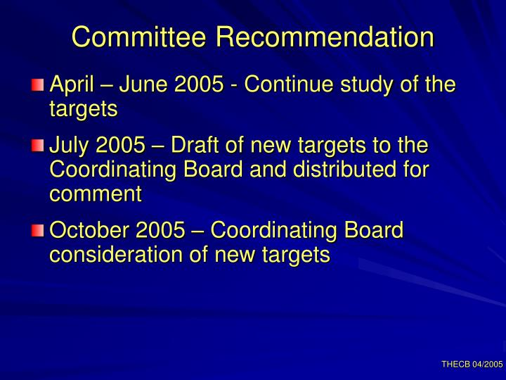 Committee Recommendation