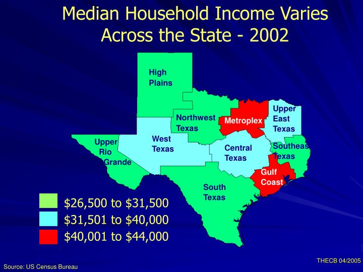 Median Household Income Varies Across the State - 2002