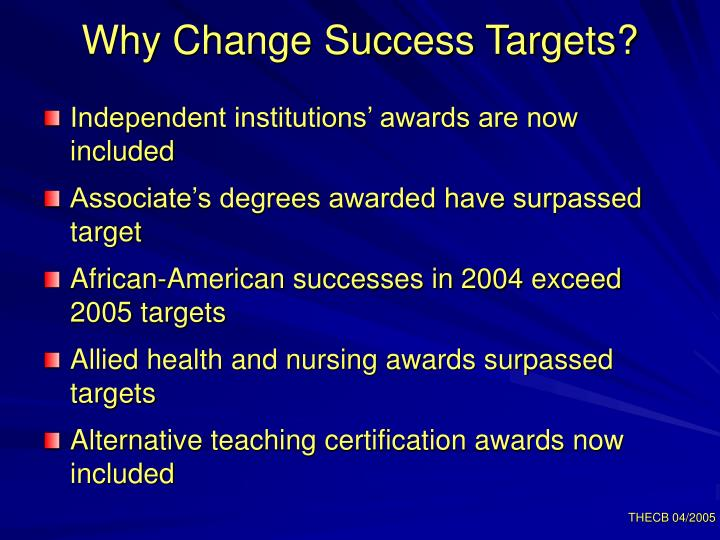 Why Change Success Targets?