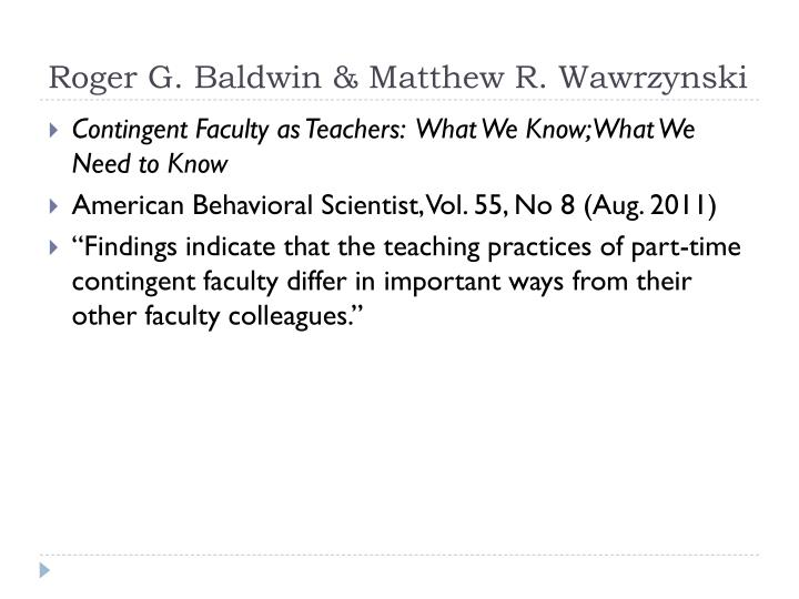 Roger G. Baldwin & Matthew R. Wawrzynski