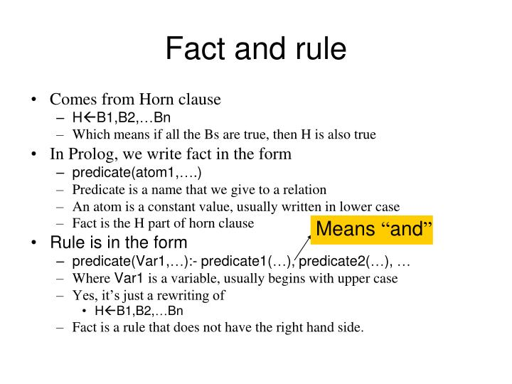 Fact and rule