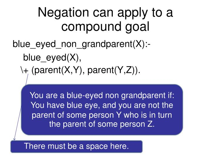 Negation can apply to a compound goal