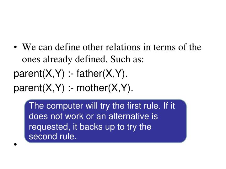 We can define other relations in terms of the ones already defined. Such as: