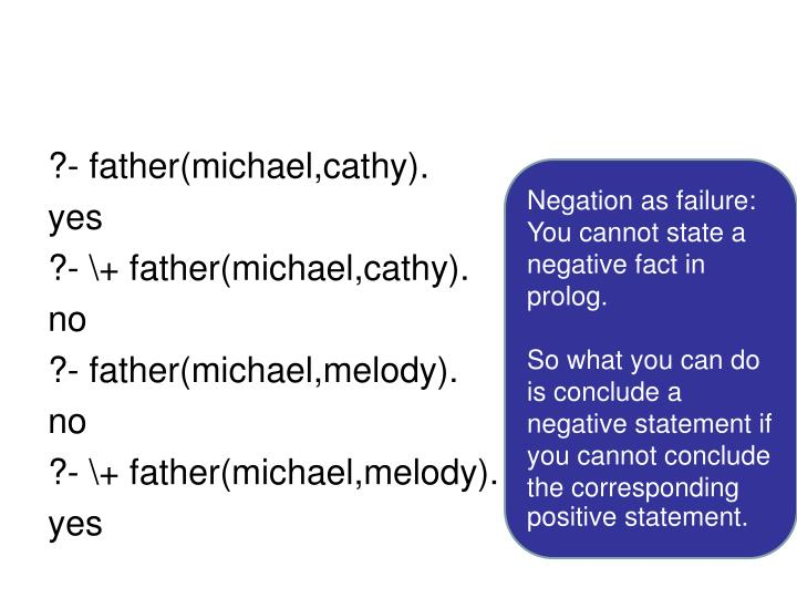 ?- father(michael,cathy).