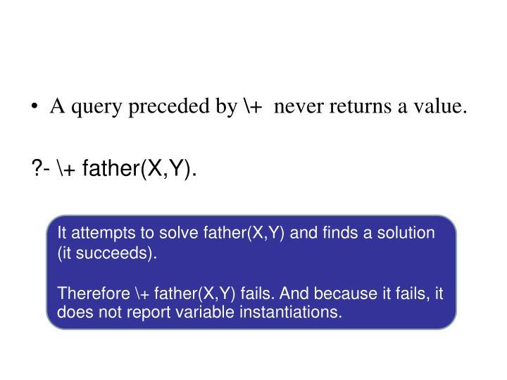 A query preceded by \+  never returns a value.