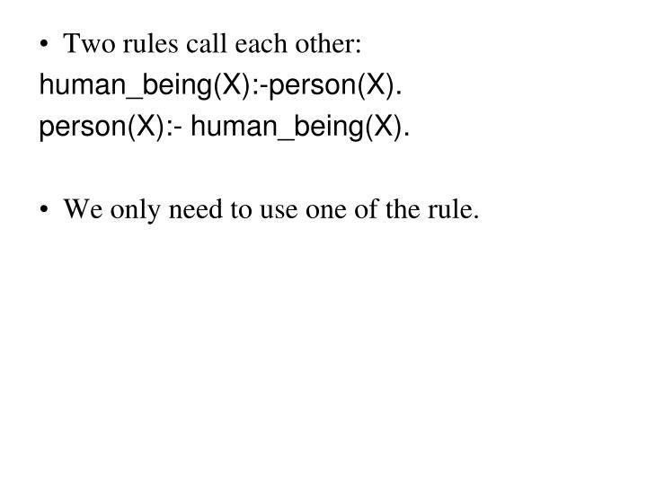 Two rules call each other: