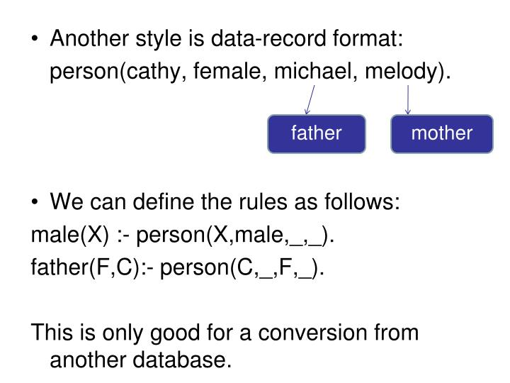 Another style is data-record format: