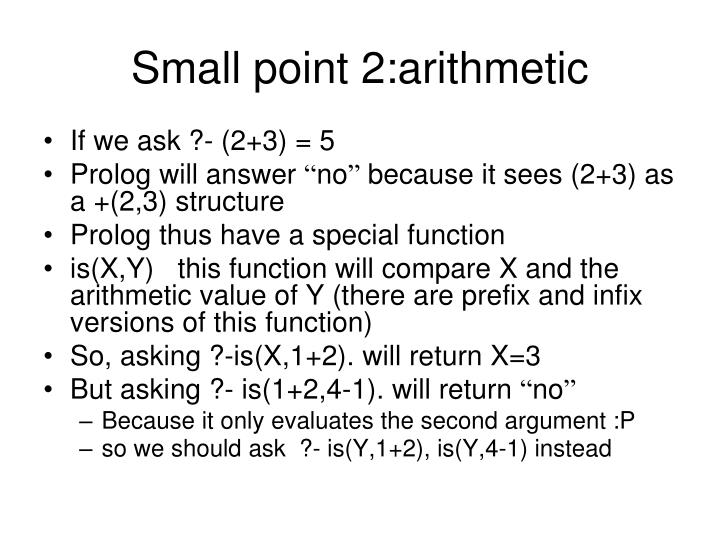 Small point 2:arithmetic