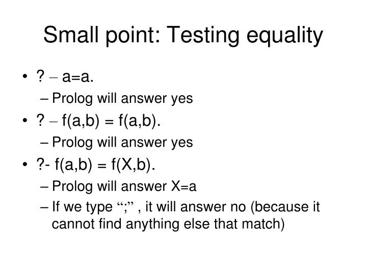 Small point: Testing equality