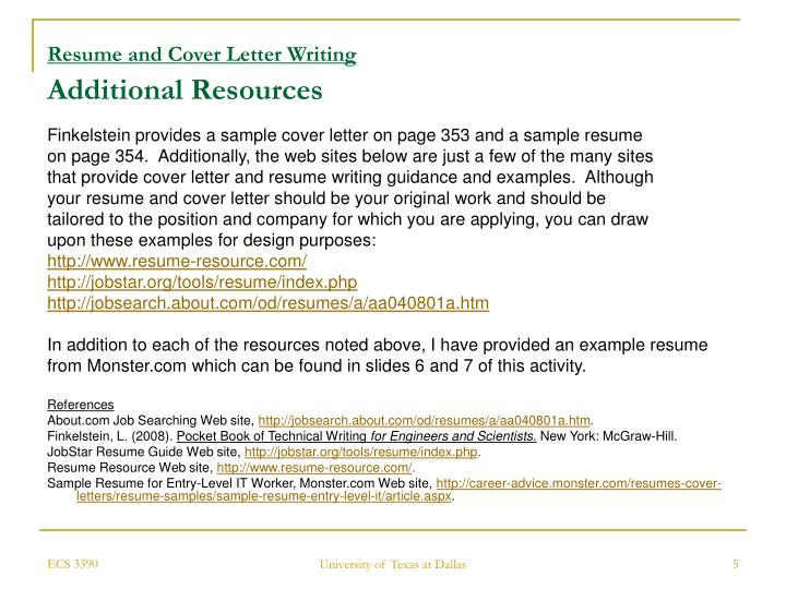 Activity: Resume And Cover Letter Writing Click On